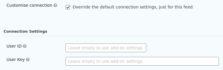 Customising a feed's connection settings