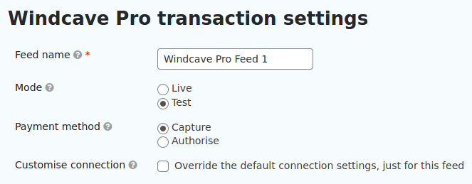 Windcave feed settings